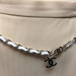Chanel White Leather and Silver Chain Belt Front View Hanging