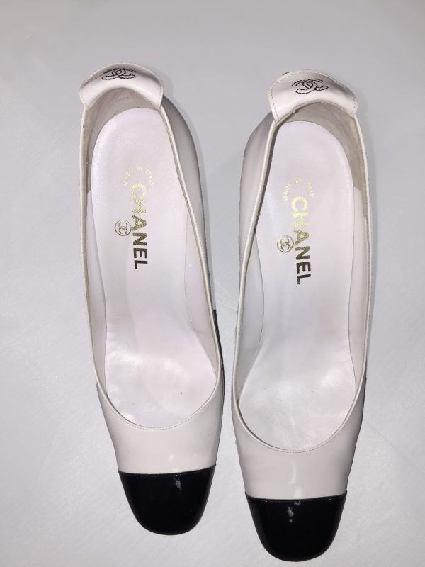 Chanel White Patent Leather Pumps With Black Patent Toe Top View
