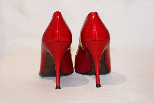 Stuart Weitzman Candy Apple Red Peep Toe High Heel Pumps Back View