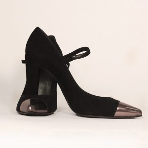 Stuart Weitzman Black Suede Mary Jane Pump With Metallic Tip Cross View