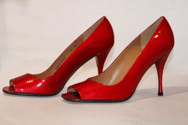 Stuart Weitzman Candy Apple Red Peep Toe High Heel Pumps Side View