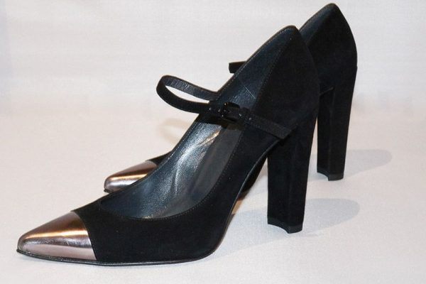 Stuart Weitzman Black Suede Mary Jane Pump With Metallic Tip Side View