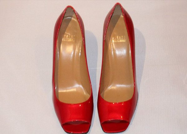 Stuart Weitzman Candy Apple Red Peep Toe High Heel Pumps Top View