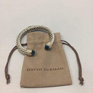 David Yurman Blue Topaz 10MM Hinged Cable Bracelet W/Bag