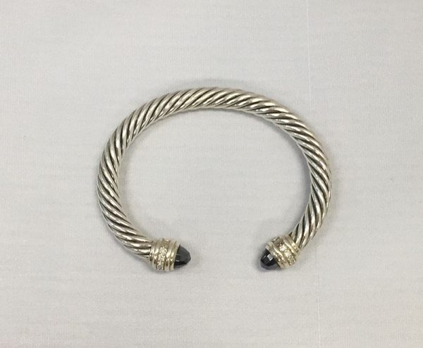 David Yurman Hematite and Diamond Bracelet Front View