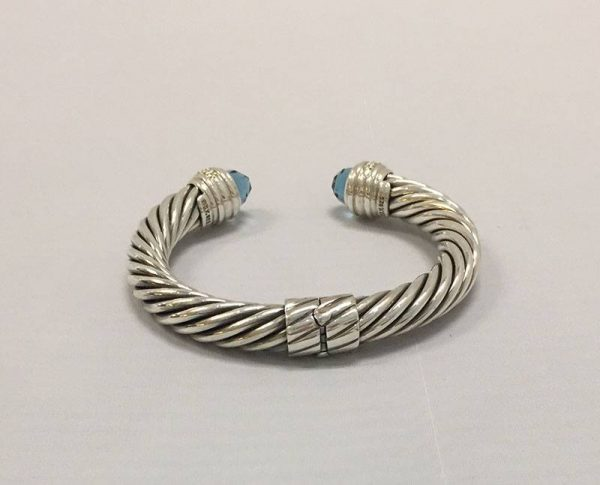 David Yurman Blue Topaz 10MM Hinged Cable Bracelet Back View