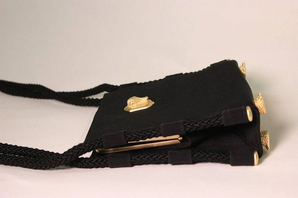 Barry Kieselstein-Cord Black Alligator Evening Bag Side Flat View