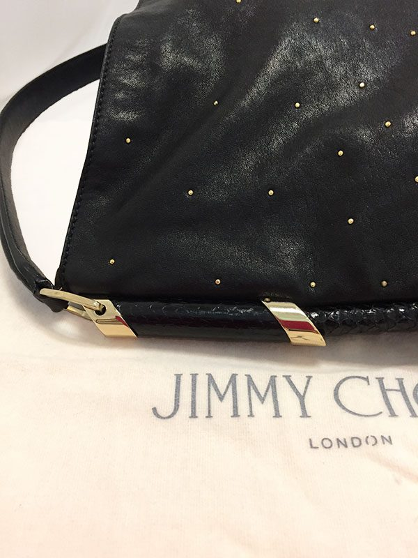 Jimmy Choo Black Leather Bag With Gold Studs Side View