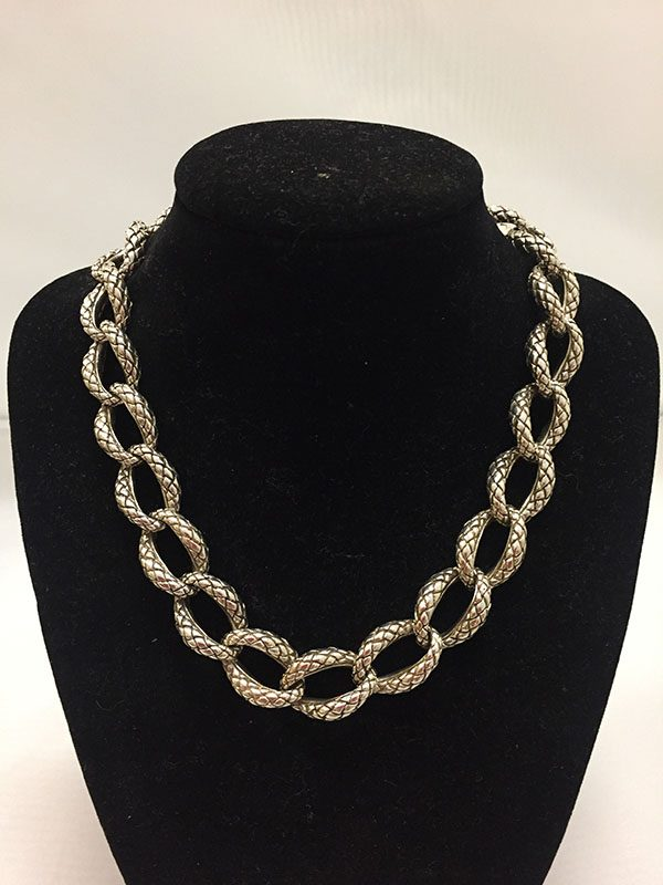 Scott Kay Sterling Silver Chain Necklace With .31 Diamond Clasp Form Front View