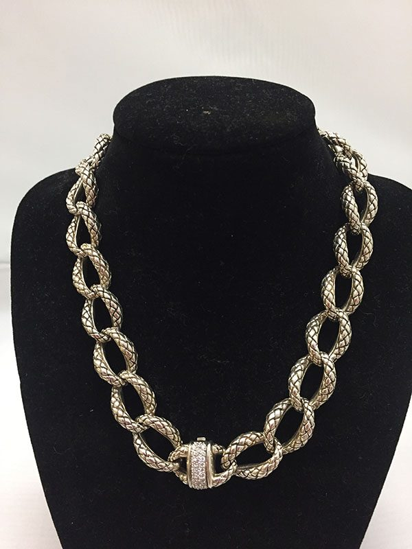 Scott Kay Sterling Silver Chain Necklace With .31 Diamond Clasp View