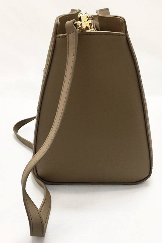 Zac Posen Taupe Leather Barrel Satchel Side View