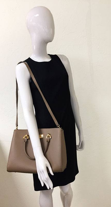 Zac Posen Taupe Leather Barrel Satchel Bag In Hand