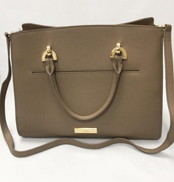 Zac Posen Taupe Leather Barrel Satchel Back View