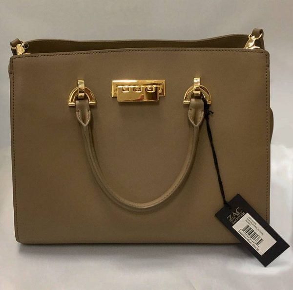 Zac Posen Taupe Leather Barrel Satchel Front View