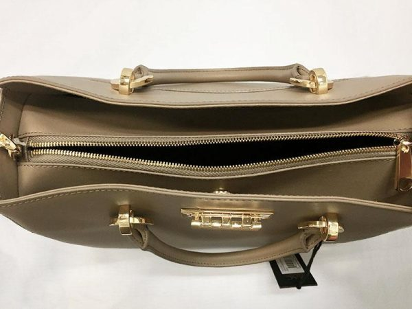 Zac Posen Taupe Leather Barrel Satchel Top View