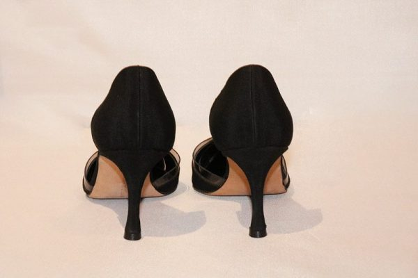 Manolo Blahnik Black D'Orsay Pumps With Clear Trim Back View