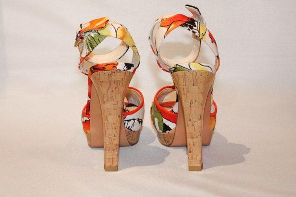 Stuart Weitzman Floral Peep Toe High Heel Sandal Back View