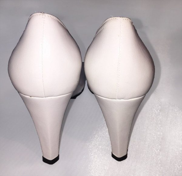 Charles Jourdan White Pumps Back View