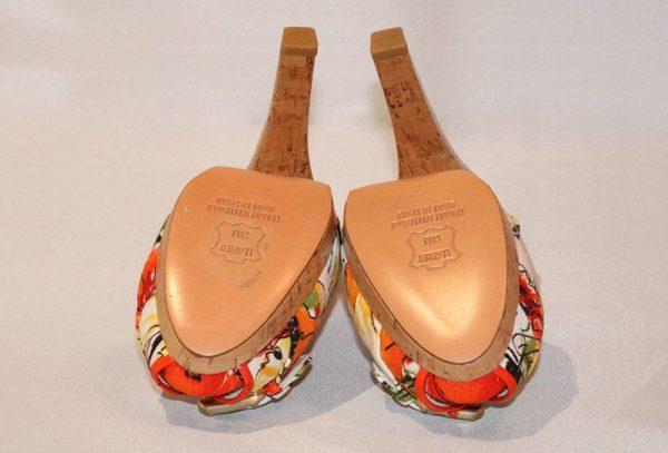 Stuart Weitzman Floral Peep Toe High Heel Sandal Bottom View