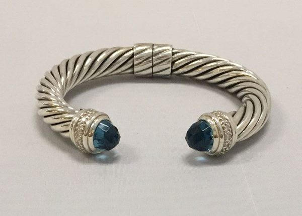 David Yurman Blue Topaz 10MM Hinged Cable Bracelet Front View