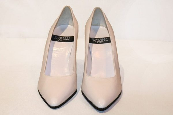 Charles Jourdan White Pumps Front View
