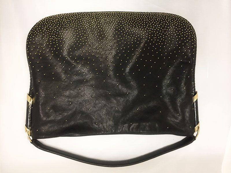35543bafd9c6f Jimmy Choo Gold Studded Black Leather Hobo Bag • Designing Women ...