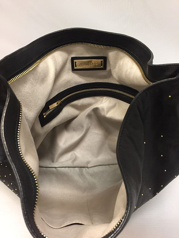 Jimmy Choo Black Leather Bag With Gold Studs Interior View 2