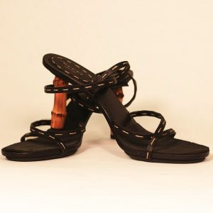 Gucci Black Bamboo Heel Sandals Cross View
