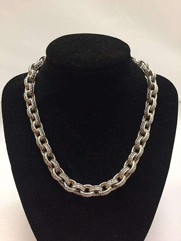 Scott Kay Sterling Silver Chain Necklace With 18KT Gold Accented Clasp Front View