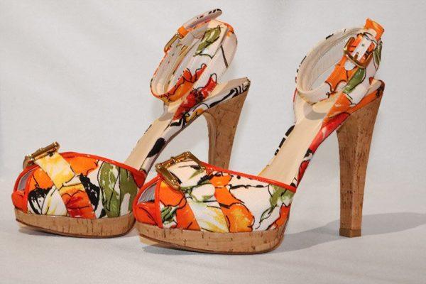 Stuart Weitzman Floral Peep Toe High Heel Sandal Side View