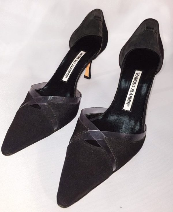 Manolo Blahnik Black D'Orsay Pumps With Clear Trim Top View