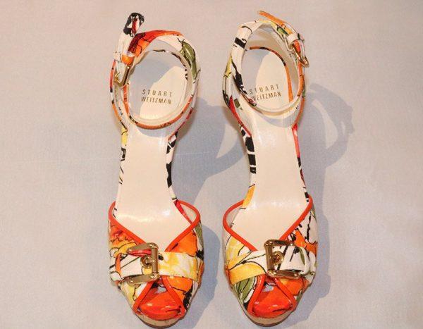 Stuart Weitzman Floral Peep Toe High Heel Sandal Top View