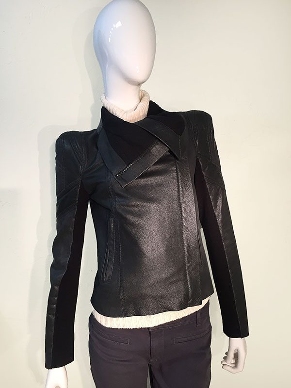 BCBGMAXAZRIA Black Leather Asymmetric Front Zip Cropped Jacket With Drape Collar Front View 1