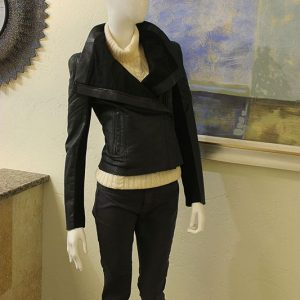 BCBGMAXAZRIA Black Leather Asymmetric Front Zip Cropped Jacket With Drape Collar Preview View