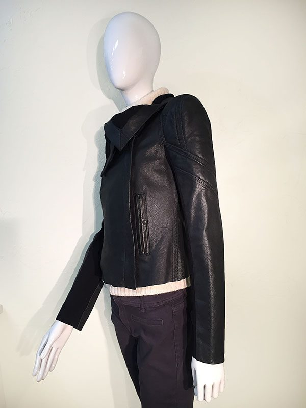 BCBGMAXAZRIA Black Leather Asymmetric Front Zip Cropped Jacket With Drape Collar Side View