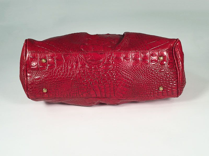 8841dc0a2b Brahmin Red Crocodile Embossed Leather Satchel Hand Bag Back View. Brahmin  ...