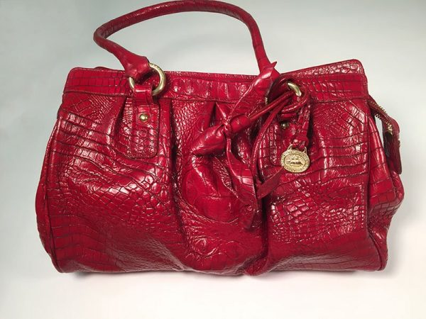 Brahmin Red Crocodile Embossed Leather Satchel Hand Bag Front View