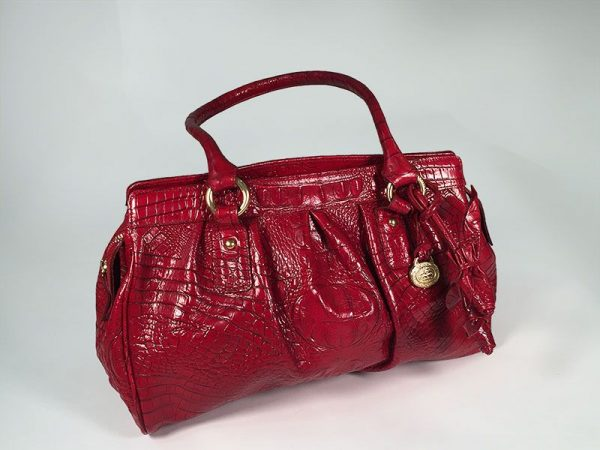 Brahmin Red Crocodile Embossed Leather Satchel Hand Bag Front View 2