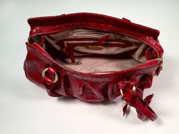 Brahmin Red Crocodile Embossed Leather Satchel Hand Bag Close Up Open Detail View 2