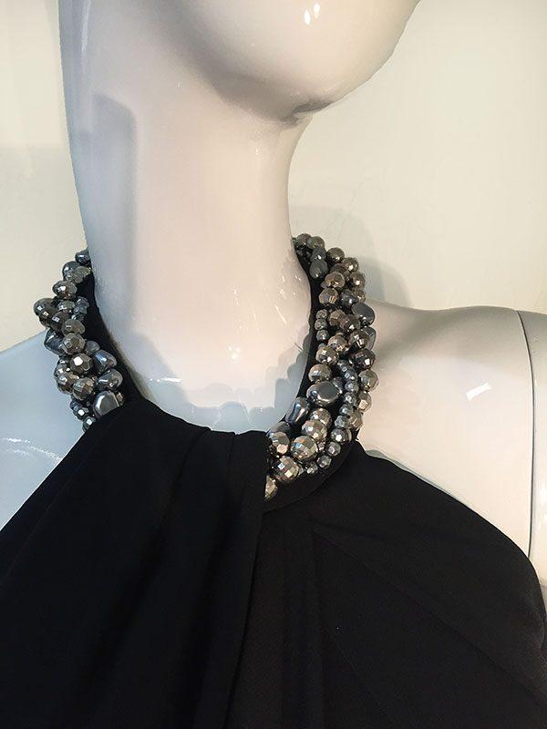 Carmen Marc Valvo Black Beaded Halter Neck Gown Close Up Beaded Neck View