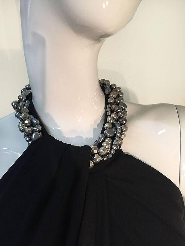 Carmen Marc Valvo Black Beaded Halter Neck Gown • Designing Women ...