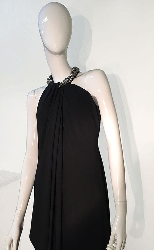 Carmen Marc Valvo Black Beaded Halter Neck Gown Close Up Front View