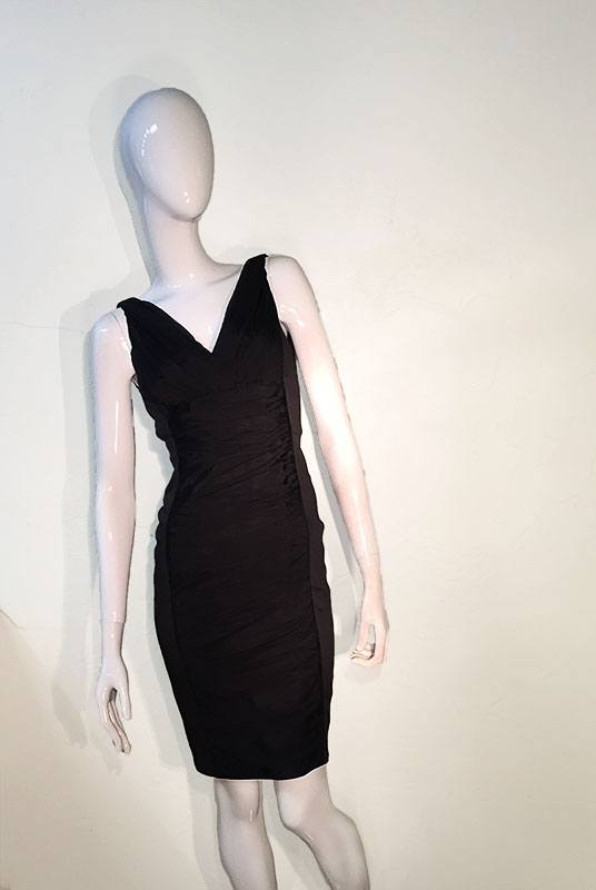 Carmen Marc Valvo Black V-Neck Midi Dress Front View 2