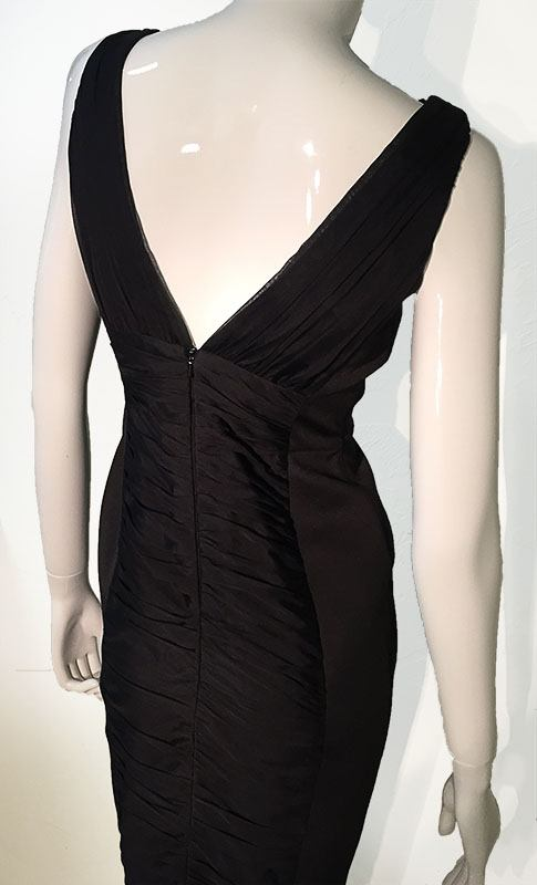 Carmen Marc Valvo Black V-Neck Midi Dress Back View 2