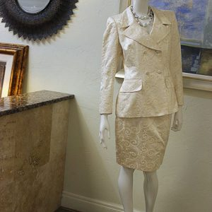 Escada Couture Silk Blend Embroidered Skirt Suit Preview View