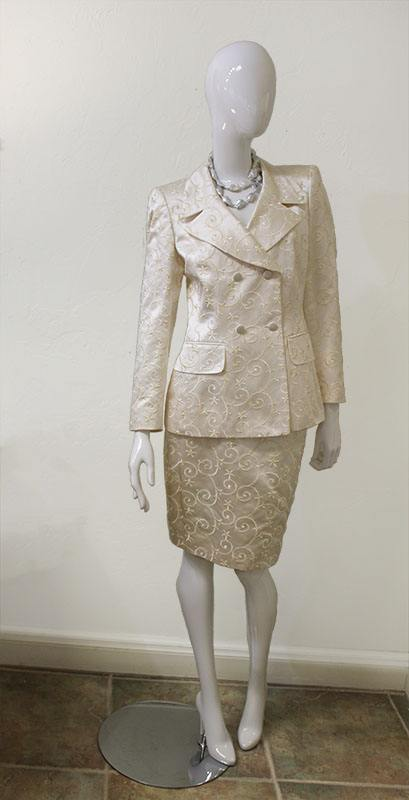 Escada Couture Silk Blend Embroidered Skirt Suit Front View