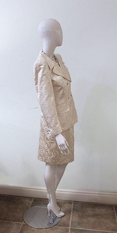 Escada Couture Silk Blend Embroidered Skirt Suit Side View