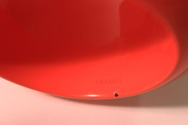 Hermes Large Orange Lacquered Wood Bangle Bracelet Hermes Stamp View