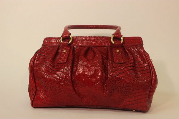 Brahmin Red Crocodile Embossed Leather Satchel Hand Bag Back View