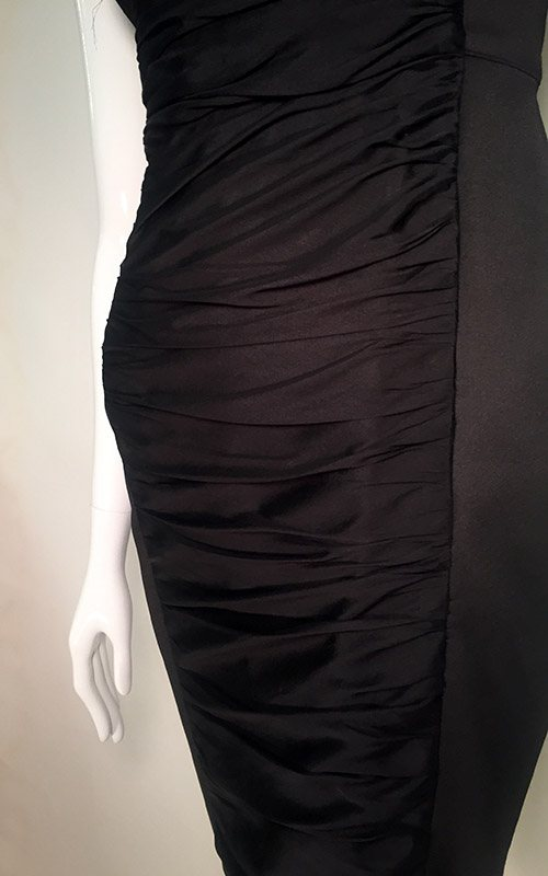Carmen Marc Valvo Black V-Neck Midi Dress Close Up View 2